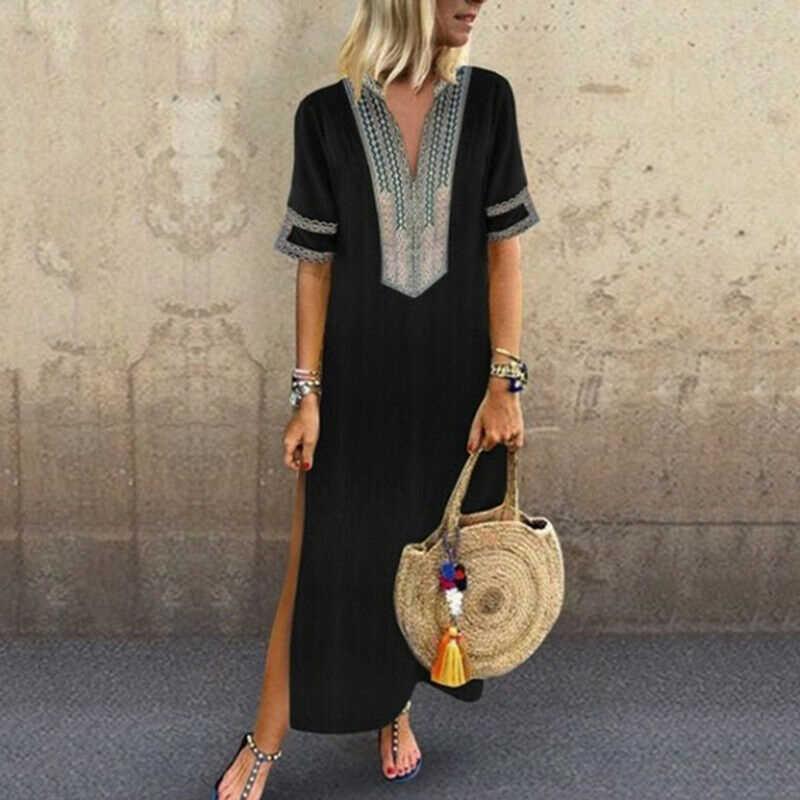 CALOFE женское негабаритное длинное платье Летнее Новое тонкое богемное платье с цветочным принтом и коротким рукавом черное пляжное платье с разрезом 5XL 2019