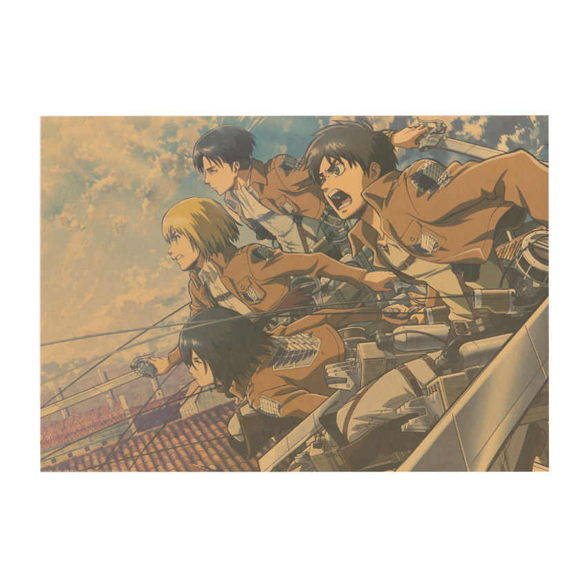 TIE LER Attack on Titan A Style Japanese Cartoon Comic Kraft Paper Wall Stickers Bar Poster Retro Decorative Painting 51.5x36cm
