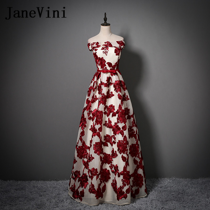 JaneVini Burgundy Lace Long   Bridesmaid     Dresses   2018 Sexy Off Shoulder Women Tulle Party   Dress   for Wedding Guest Formal Prom Gown