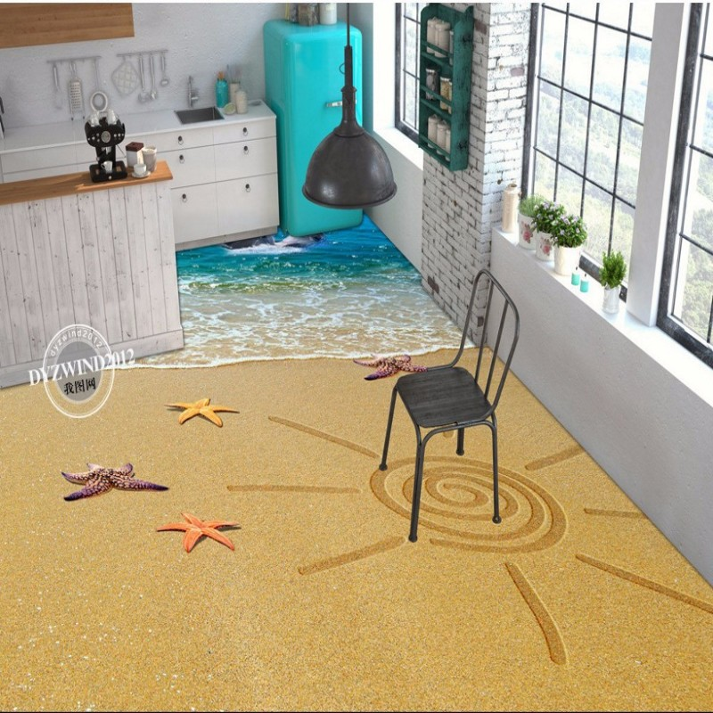 Free Shipping 3D stereo beach shellfish starfish floor painting children room nursery entertainment place floor wallpaper mural