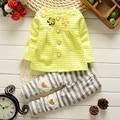 BibiCola trajes de navidad los niños que arropan la primavera otoño bebés de algodón flor de la moda abrigo de manga larga + pantalones 2 unids