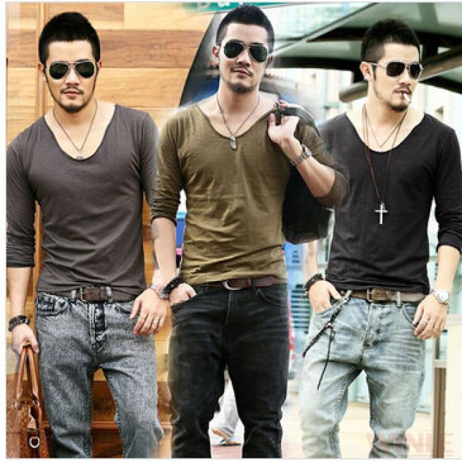 38d3673759c Plus Size Deep V Neck T Shirt Men Long Sleeve T Shirts Gym Fitness T Shirt  New Brand Outdoor Solid Undershirt 2015 Free Shipping-in T-Shirts from Men s  ...