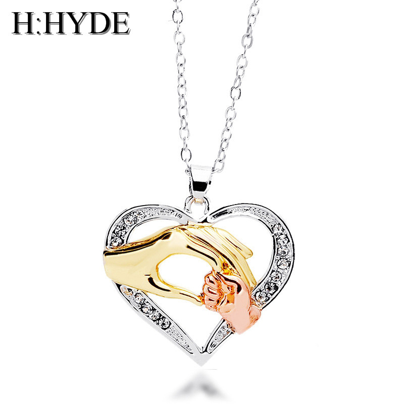 H:HYDE Classic Design Silver Necklace Jewelry for Mother Gift Mum And Baby Hand Pendant Necklace For Women Silver Chain bijoux