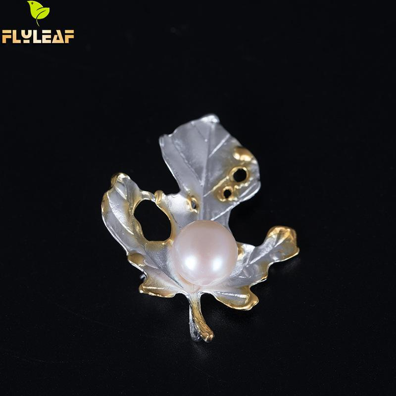Flyleaf New Gold Color Maple Leaf Brooches For Women 100% 925 Sterling Silver Fashion Party Jewelry Prendedores De Mujer ethnic antique silver color leaf brooches pin