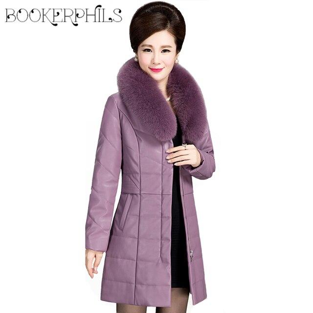 Flash Promo Brand Fur Collar Leather Jacket Winter Women Plus Size 6XL Thick Warm Autumn Women Outwear Waterproof Winter Coat Female Parka