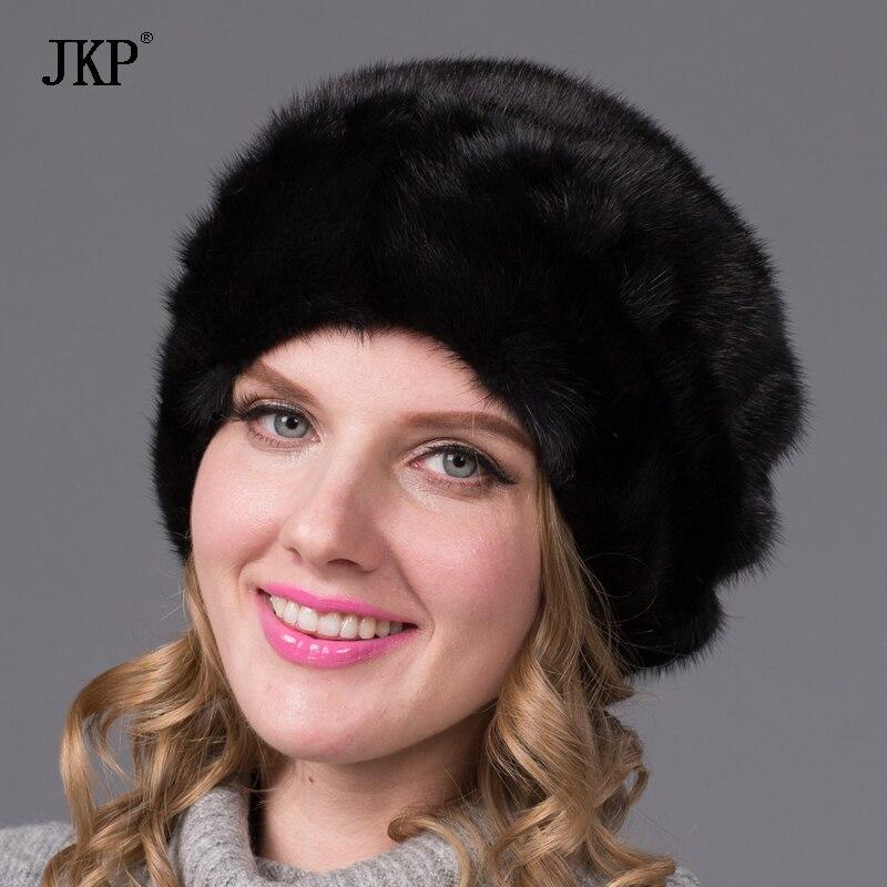 Réel de fourrure de vison femelle chapeau hiver Russe femmes cap haut de gamme de luxe tous importés vison chapeau chapeau de fourrure motif floral