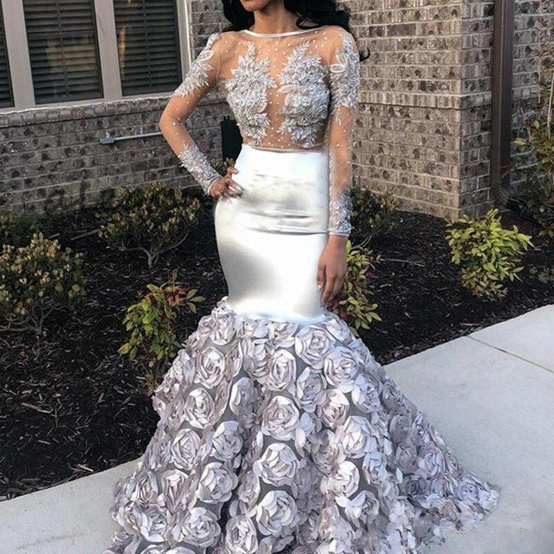 Robe soiree серебро платье с русалочкой Вечерние платья Длинные рукава Sheer средства ухода за кожей шеи элегантное вечернее платья Abiye gece elbisesi