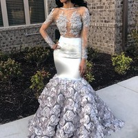 robe soiree Silver Mermaid Dress Evening Formal Gowns Full Sleeves Sheer Neck Elegant Evening Dresses abiye gece elbisesi