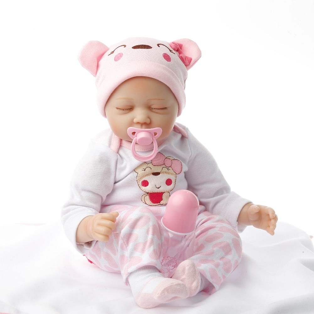 SanyDoll 22 inch 55cm baby reborn Silicone dolls, lifelike doll reborn babies for Children's toys New pink sleeping doll