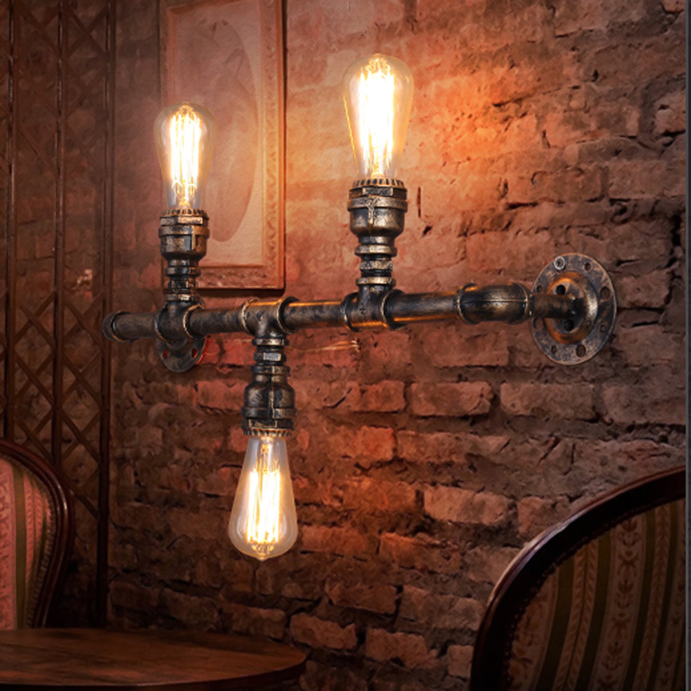 Retro Loft Industry Water Pipe Aisle Wall Lamp Restaurant Coffee Shop Iron Wall Lamp Light 3 Heads Bulb E26/E27 Lighting Fixture цена