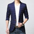 2016New Korean Men's Plaid Suit Jacket Pure Color Slim Single Button Full Cotton Male Business Casual Suit Jackets Freeshipping