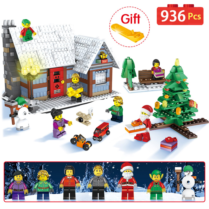 936Pcs Creator Santa Reindeer Building Bricks Compatible LegoINGLY CHRISTMAS Modular Series Winter Village Blocks Toys For child