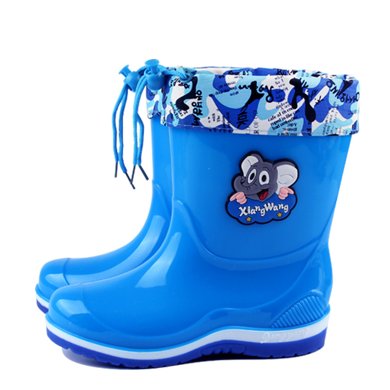 Kids Rainboots Rubber Waterproof Warm Girls Boys Animal Children Shoes Autumn Winter Blue Snow Boots Detachable(Big/Little Kid)