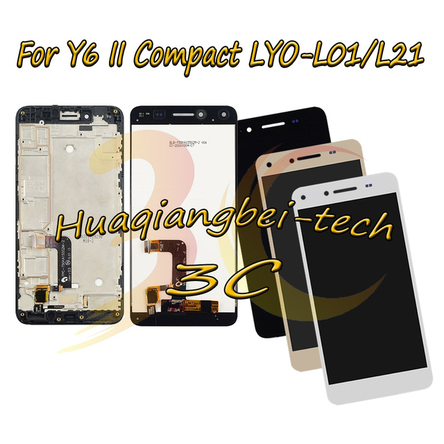 5,0 дюйма, для Huawei Y6 II, компактный, полный ЖК дисплей с дигитайзером сенсорного экрана, с рамкой, на 100% испытано, в сборе, с рамкой