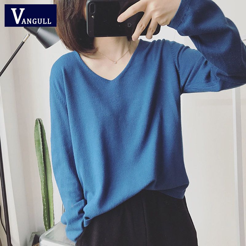 Vangull Sweater V-Neck Women 2019 New Autumn Cashmere Sweater Solid Sexy Pullovers Coat Female Casual Knitted Winter Sweater