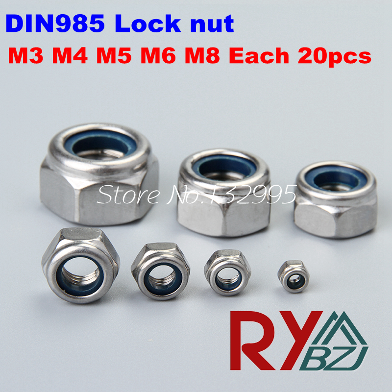 100pcs M3 M4 M5 M6 M8 DIN985 Lock nut,Locking nut,Self lock nut,Stainless Steel A2 Nylock Self Locking SUS 304 DIN985 гайка самостопорная din985 m6 16шт
