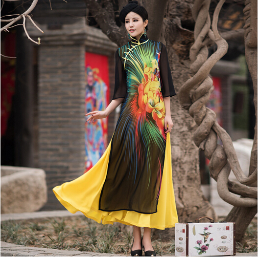 Vietnam aodai gracieux col montant Robes Design élégant fleur mode haute qualité en mousseline de soie grand swing amélioré Long Cheongsam