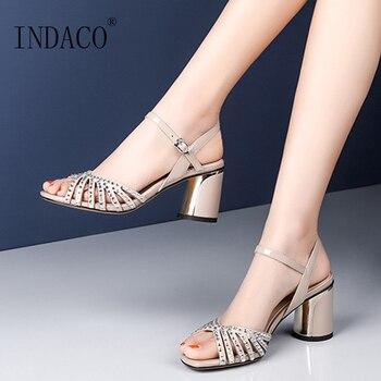 Sandals Women Summer Shoes Women Sandals Genuine Leather Summer Footwear Thick Heel Rhinestone Ladies Sandals