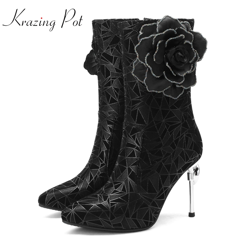 Krazing Pot sheep suede pointed toe party wedding three-dimensional flower decoration elegant brand dating mid-calf boots L03Krazing Pot sheep suede pointed toe party wedding three-dimensional flower decoration elegant brand dating mid-calf boots L03