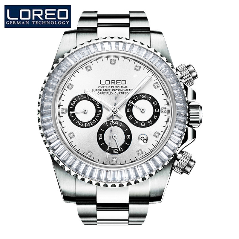LOREO Men's Mechanical Automatic Watch Stainless Steel Strap Auto Date Calendar Business Noble Fashion Luminous Watches P02 free shipping employee training table the long tables desk training carrel