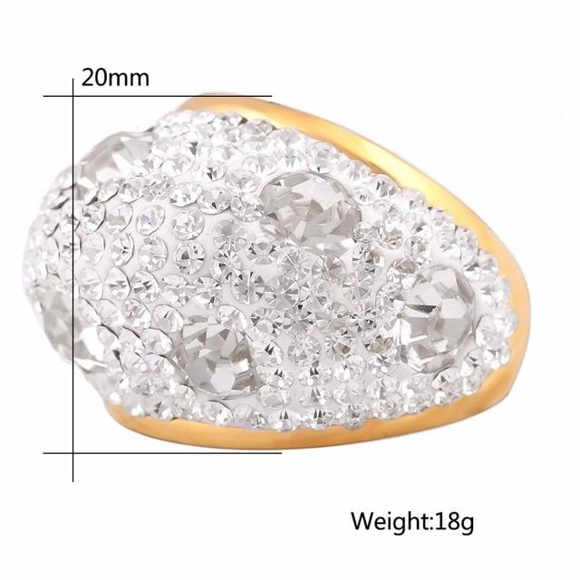 Sereno Austriaco di Cristallo Anelli di Nozze Con Targa D'oro Dell'acciaio Inossidabile Squilla I Monili