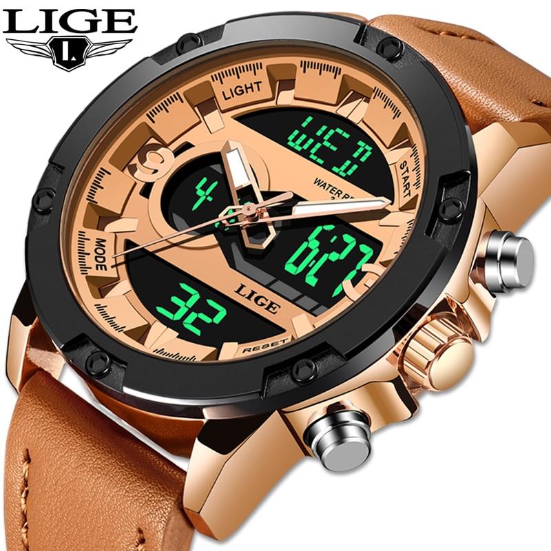 2019 LIGE New Mens Watches Luxury Brand Sport Watch Men LED Digital Waterproof Leather Quartz Watch Man Clock Relogio Masculino