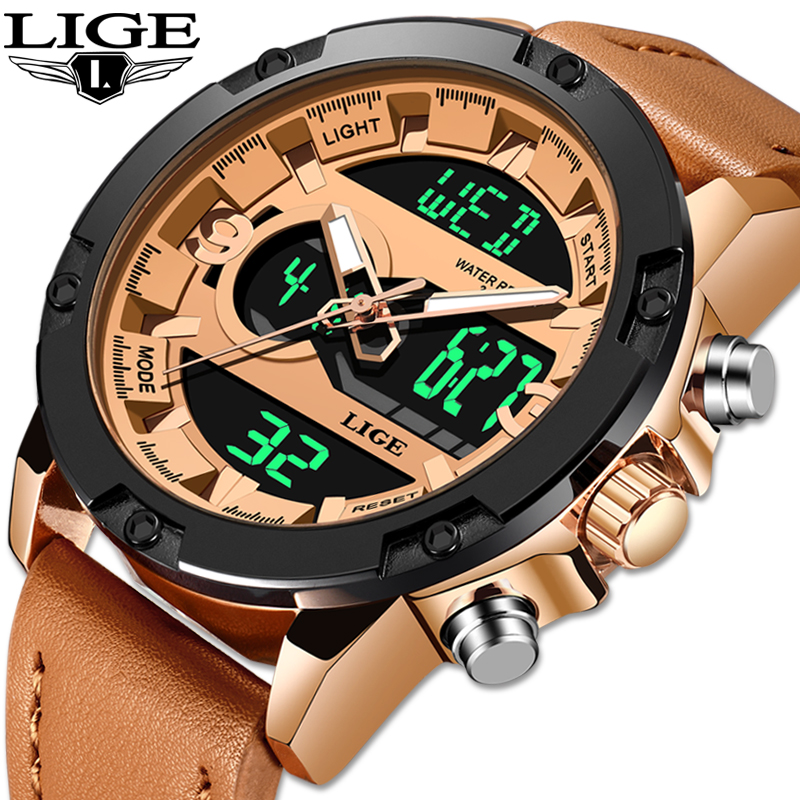 2019 LIGE New Mens Watches Luxury Brand Sport Watch Men LED Digital Waterproof Leather Quartz Watch Man Clock Relogio Masculino