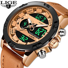 2019 LIGE New Mens Watches Luxury Brand Sport Watch Men LED Digital Waterproof Leather Quartz Watch Man Clock Relogio Masculino(China)