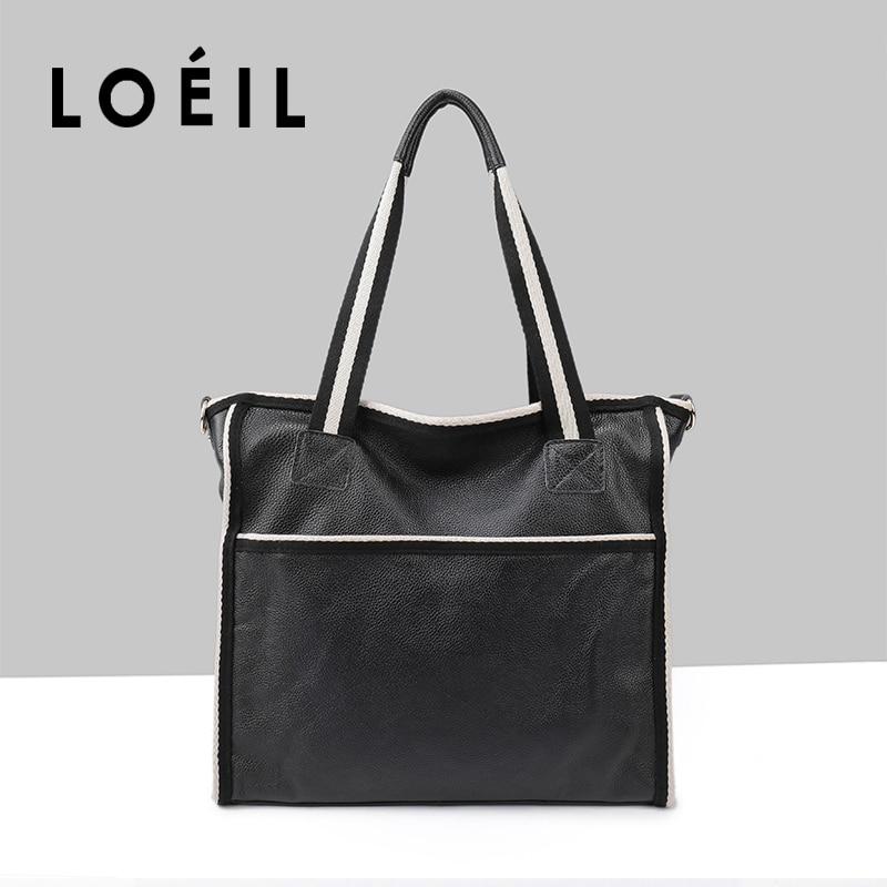 LOEIL ladies bag high capacity cowhide leather shoulder bag women crossbody Bags fashion women handbags все цены