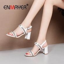 ENMAYER 2019 New Arrival Women High Heel Sandals Summer Fashion Genuine Leather Basic  Wedding Shoes Size 34-39 LY2049