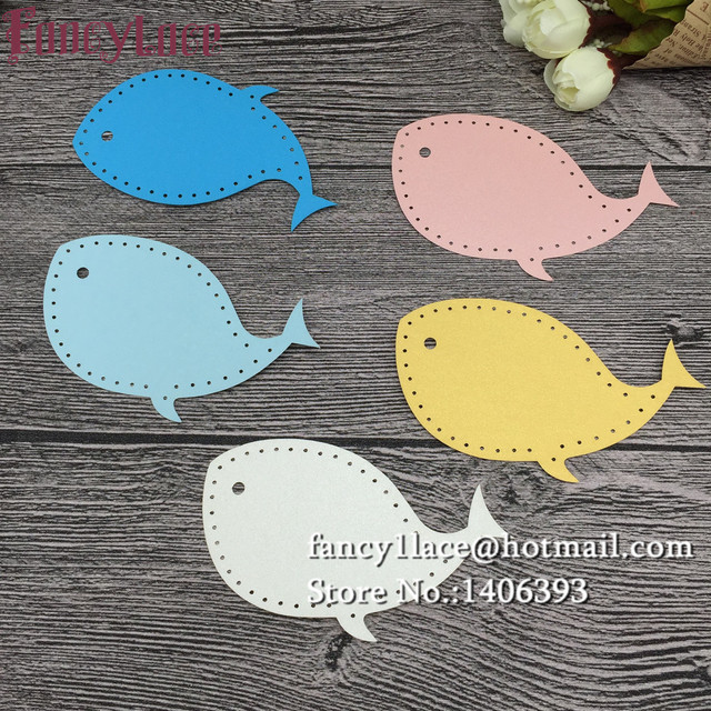 60pcs Laser Cut Whale Fishes Pearl Paper Card Hang Tag Gift Card
