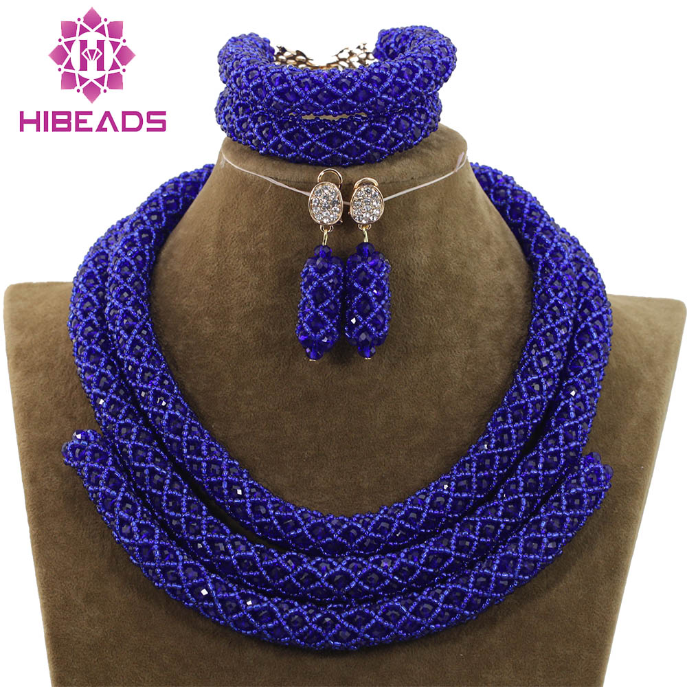 Beautiful Royal Blue Jewelry Sets African Bead Jewelry Set