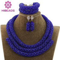Beautiful Royal Blue Jewelry Sets African Bead Jewelry Set for Women Vintage Party Jewelry QW1097
