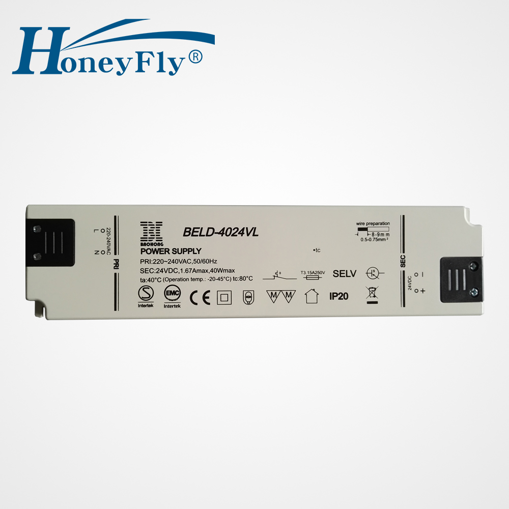 HoneyFly Patented Super Slim LED Driver 40W 220v 24V Constant Voltage Lighting Transformer AC DC Power Supply For LED Lights