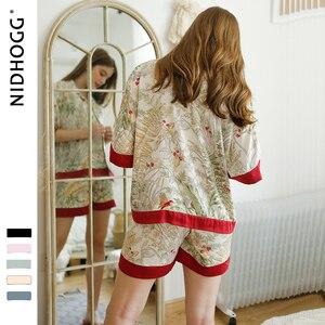 Image 3 - Шорты с короткими рукавами, пижамы для женщин, комплект из двух предметов, летние атласные пижамы, пижамы с принтом из вискозы, домашняя одежда, Прямая поставка