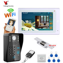 Yobang Security 7″ TFT Wired / Wireless Wifi RFID Password Video Door Phone Doorbell Intercom System with Electric Strike Lock