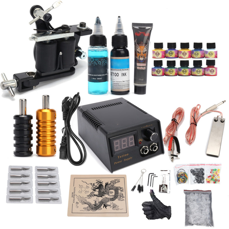 Professional Tattoo Kit 10 Colors Tattoo Ink Sets Machines Gun Black Power Supply Needles Permanent Make Up Body Tattooing Art недорого