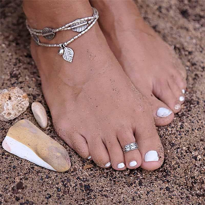 8 видов стилей Boho Летнее пляжное регулируемое отверстие палец кольцо винтажное серебряное гравированное цветок сердце кольцо украшения для ног