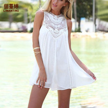 ФОТО 2018 summer explosions europe and the united states chiffon splicing lace round neck sleeveless dress