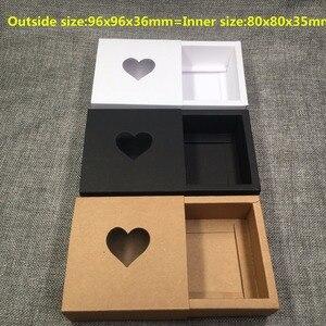 Image 2 - 50ピースクラフト引き出しボックス付きpvcハート窓用ギフトの手作り石鹸工芸品のジュエリーはマカロンパッキングブラウン紙収納ボックス