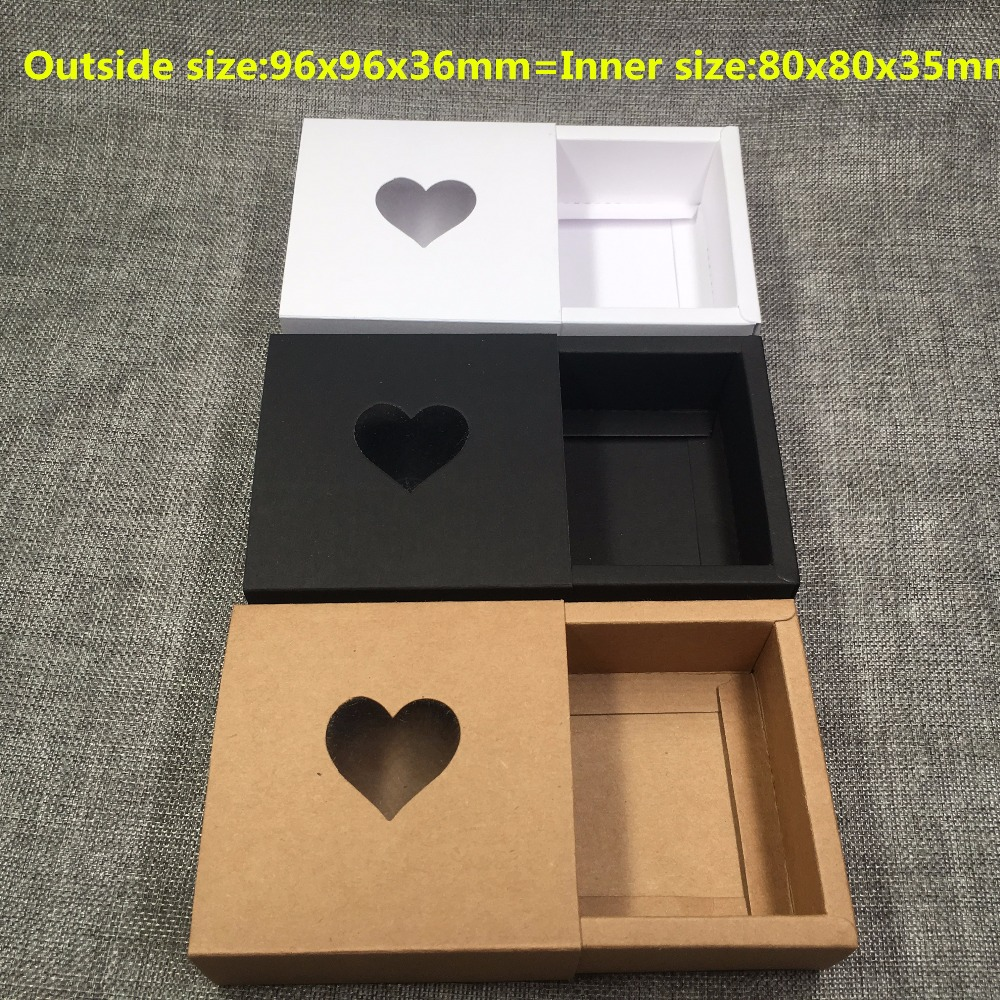 Image 2 - 50pcs Kraft Drawer Box with PVC Heart Window for GiftHandmade 