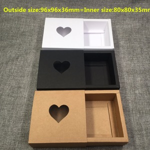 Image 2 - 50pcs Kraft Drawer Box with PVC Heart Window for Gift\Handmade Soap\Crafts\Jewelry\Macarons Packing Brown Paper Storage Boxes