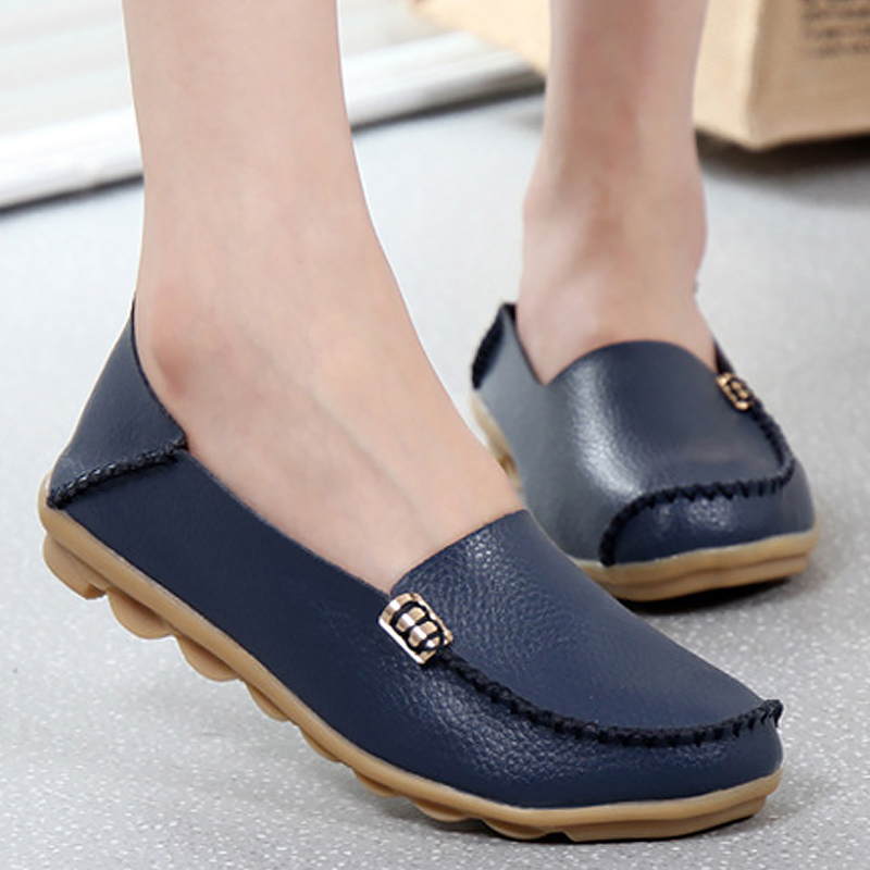 Large size 35-44 loafers shoes women flats genuine leather slip-on casual female shoes 14 colors solid sewing autumn shoes meotina shoes women genuine leather flats d orsay strap shoes pointed toe autumn casual flats yellow green large size 9 41 42