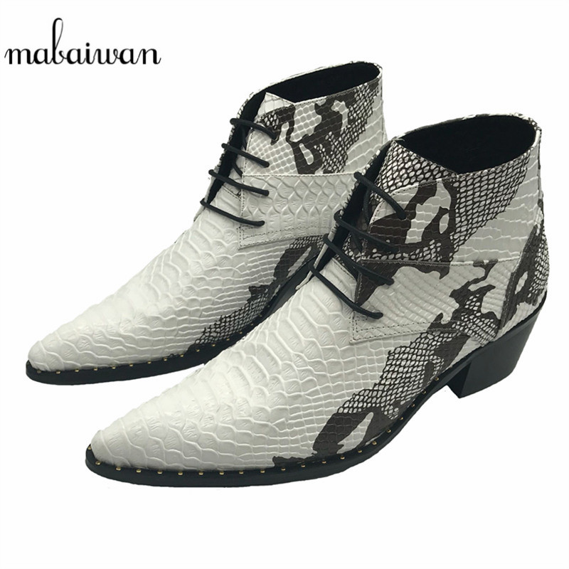 Mabaiwan Красивый Смешанный Цвет Мужчины Ботильоны Острым Носом Обувь Манс Шнуровке Ковбойские Военные Сапоги Свадебное Платье Резиновая Обувь