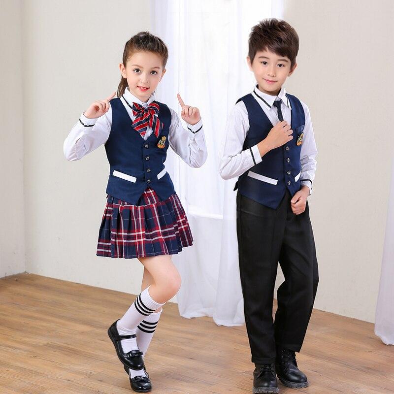 Chœur d'enfants Costumes Étudiant Garçons et Filles Anglaises Prestigieuses Style Gilet + Chemise + Jupe Uniforme Scolaire Ensemble