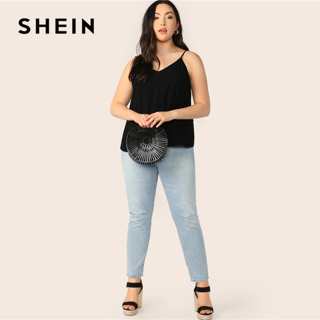 SHEIN Plus Size Black Solid V-Back Cami Top 2019 Women Summer Casual Spaghetti Strap Regular Basic Big Size Camisole Tops 3