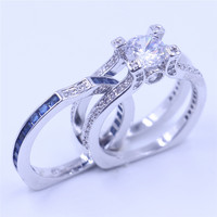Vecalon Female Silver Jewelry Engagement Ring Sapphire Simulated Diamond Cz 925 Sterling Silver Wedding Band Ring