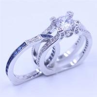 Vecalon женский Серебряные ювелирные изделия Обручение кольцо камень AAAAA Циркон CZ 925 стерлингового серебра обручальное кольцо набор для женщин