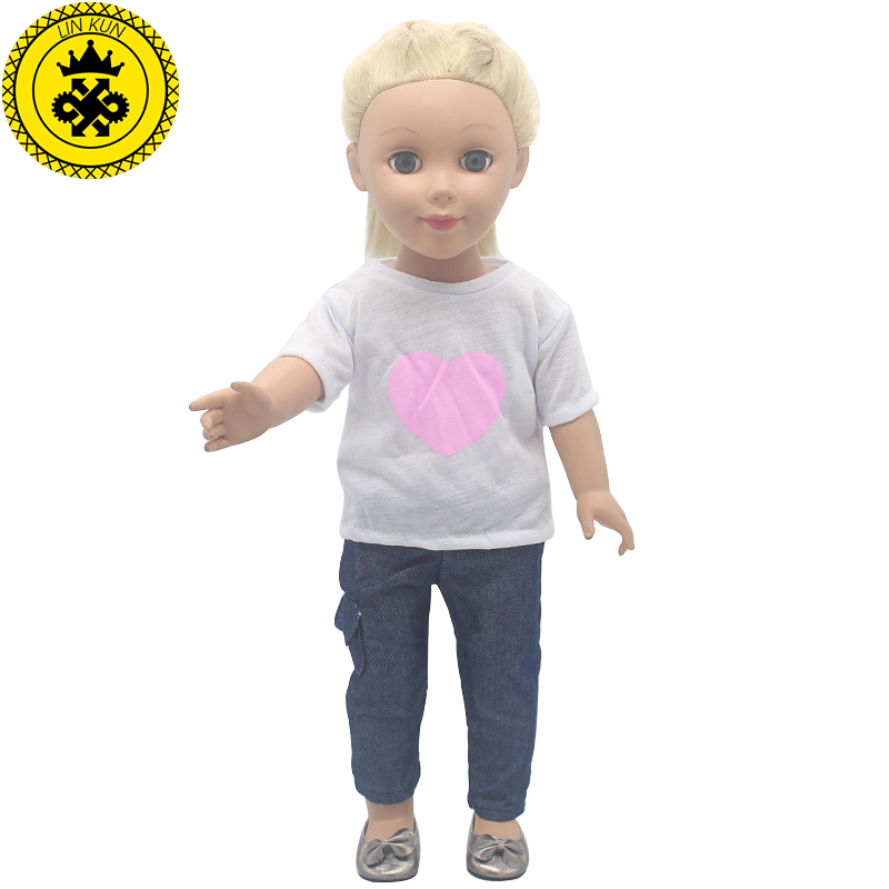 American Girl Dolls Clothing White Short-sleeved Shirt + Casual Pants Doll Clothes of 18 inch Doll Dress Christmas Gift MG-506 9 colors american girl doll dress 18 inch doll clothes and accessories dresses