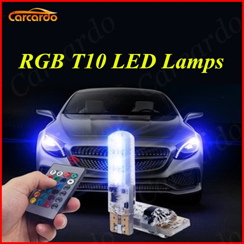 Carcardo 1 Set RGB LED T10 Bulb With Remote Control 5050 SMD Demo Light T10 W5W 194 168 LED Car Side Wedge Tail Lamp 100pcs lot car auto led t10 5050 w5w 5 smd 194 168 led white car side wedge tail light lamp bulb 12 30m sticker on carvoiture